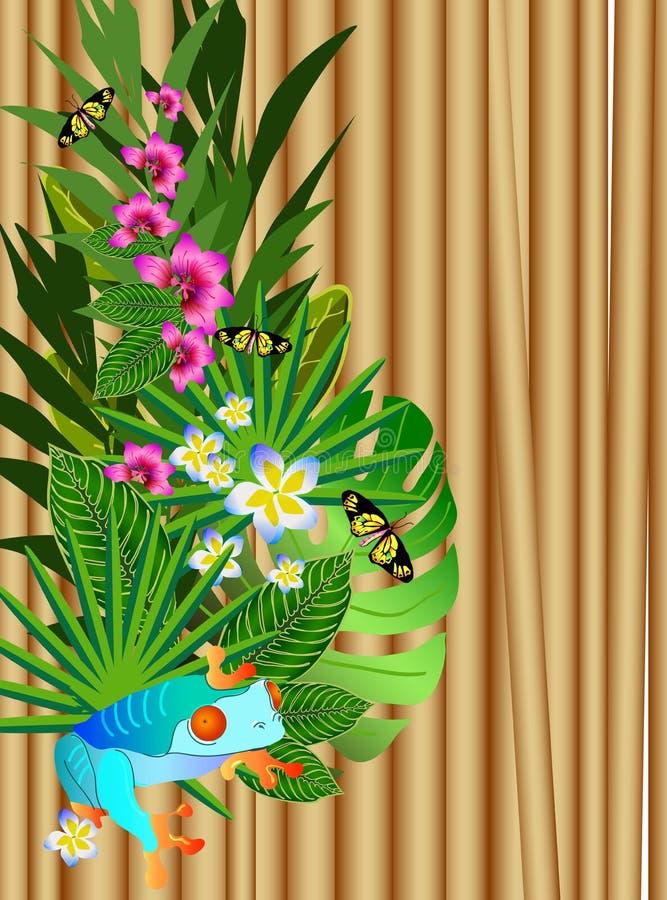 Тропические цветки и листья над древесиной, яркой иллюстрацией бесплатная иллюстрация