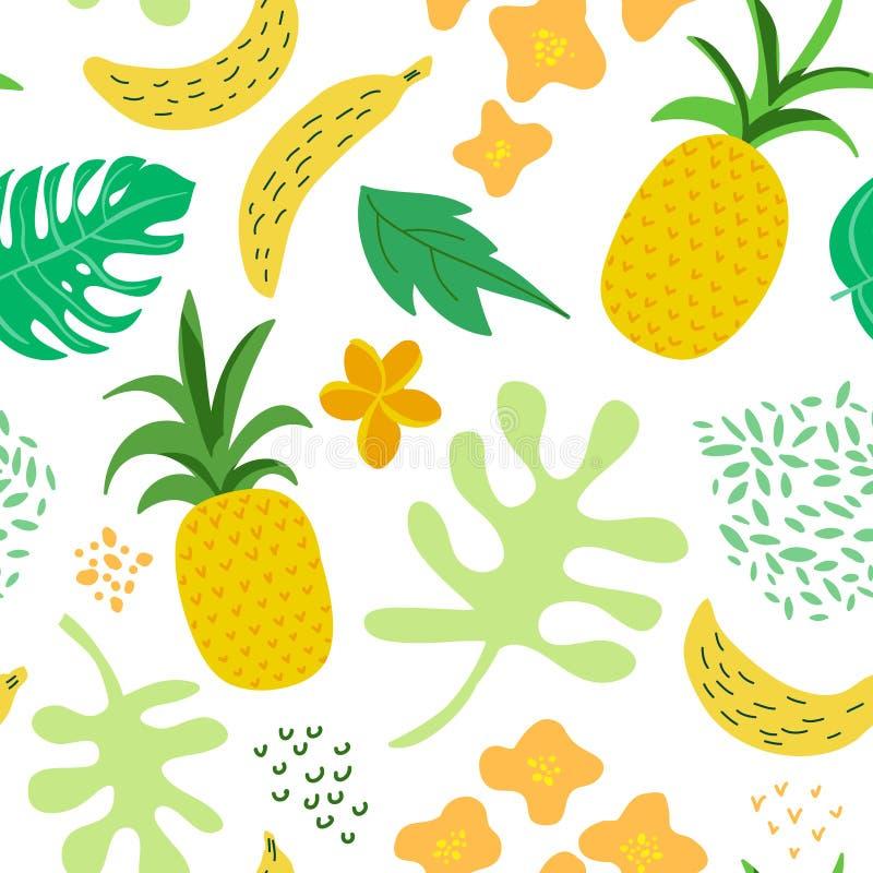 Тропические цветки и листья делают по образцу Стиль Мемфиса предпосылки ананасов ретро безшовный ультрамодный Дизайн природы джун иллюстрация вектора