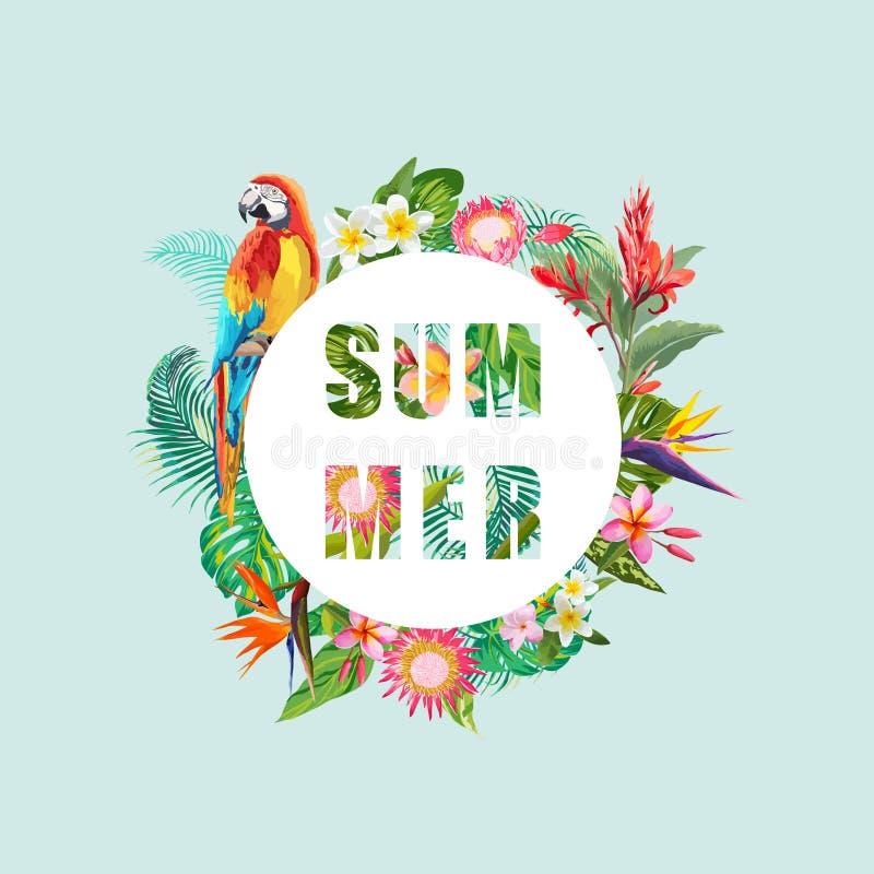 Тропические цветки и предпосылка птицы попугая Дизайн лета График моды футболки экзотическо бесплатная иллюстрация