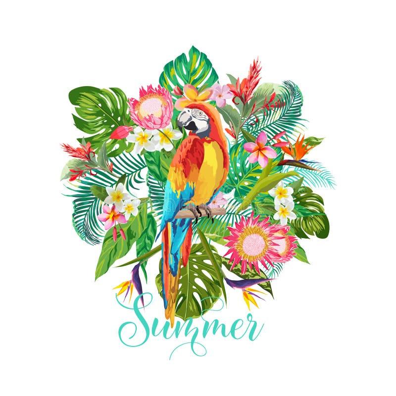 Тропические цветки и предпосылка птицы попугая Дизайн лета График моды футболки экзотическо иллюстрация вектора