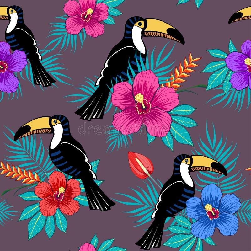 Тропические цветки и toucan картина стоковое фото rf