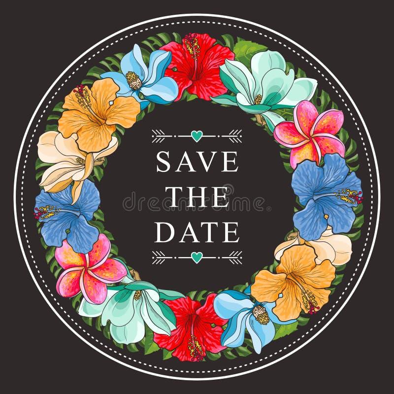 Тропические цветки магнолия и гибискус в красочном флористическом составе в форме круга в стиле эскиза иллюстрация вектора