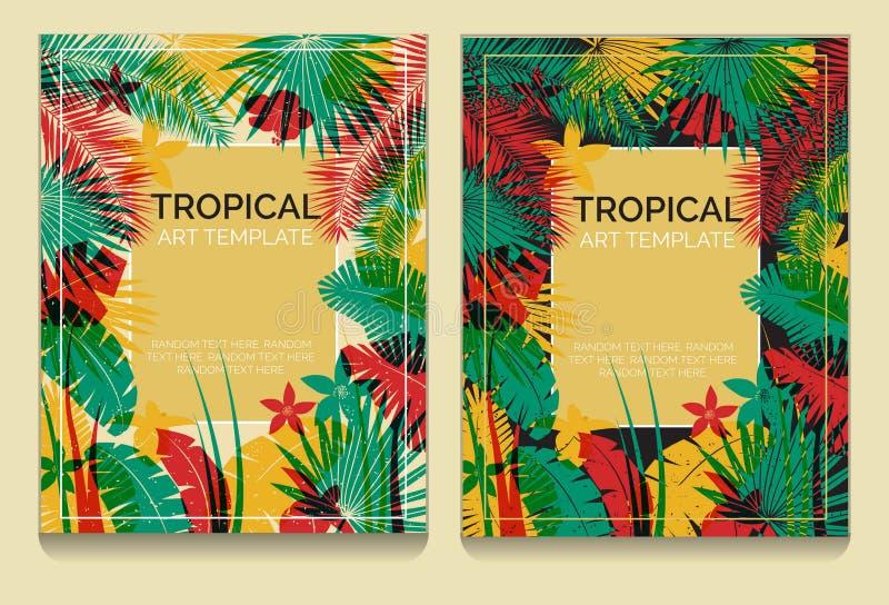 Тропические шаблоны джунглей влияния печати смещения иллюстрация штока