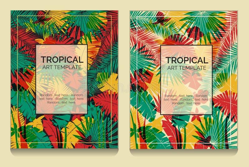 Тропические шаблоны джунглей влияния печати смещения иллюстрация вектора