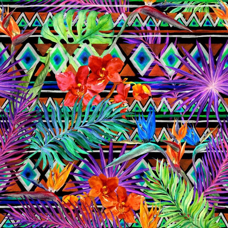 Тропические экзотические листья, орхидея цветут, неоновое свето картина безшовная акварель стоковое фото