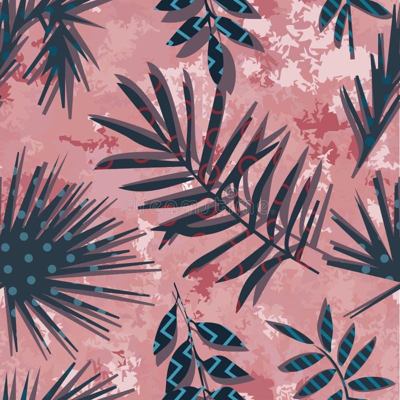 Тропические экзотические цветки и заводы с зелеными листьями ладони иллюстрация штока