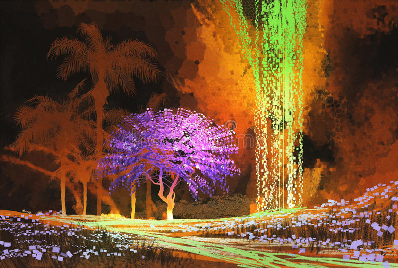 Тропический ландшафт показывая фиолетовое дерево в пещере с водопадом иллюстрация вектора