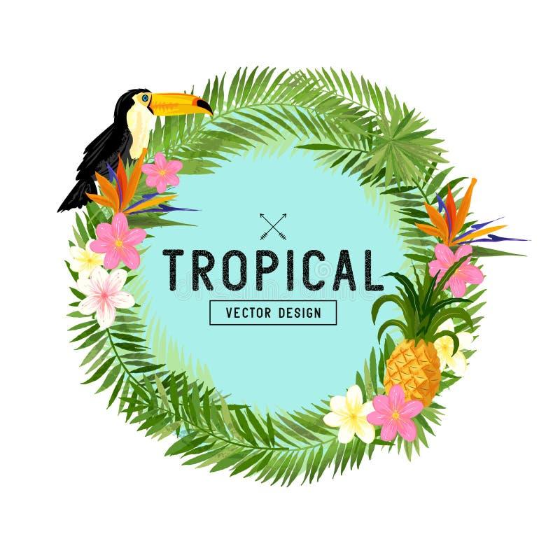 Тропический вектор венка иллюстрация вектора