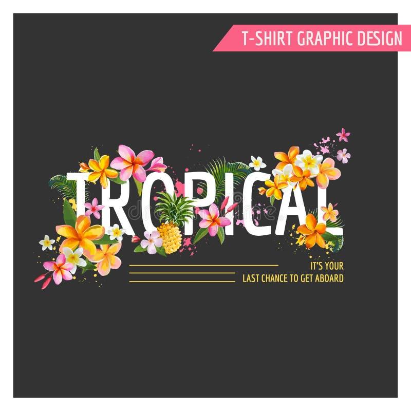 Тропический графический дизайн цветков - для футболки иллюстрация вектора