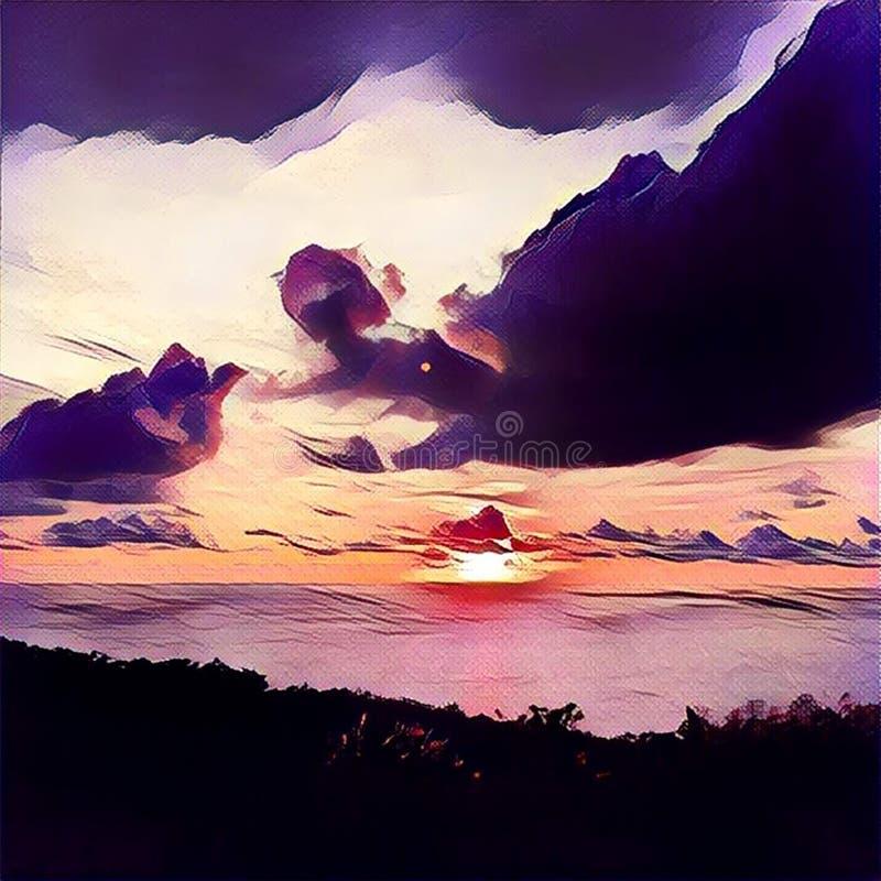 Тропический заход солнца над морем и иллюстрация цифров леса в стиле картины маслом иллюстрация вектора