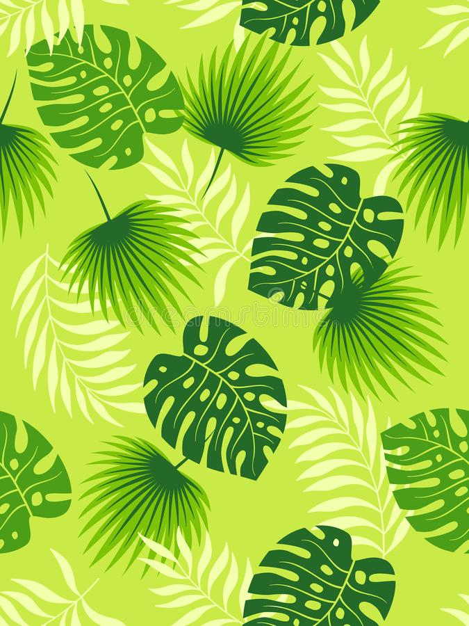 Тропический зеленый цвет выходит безшовная картина на салатовую предпосылку r иллюстрация штока