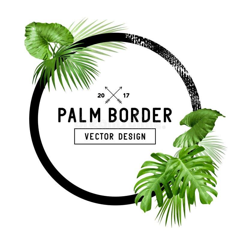 Тропический дизайн границы лист ладони иллюстрация вектора
