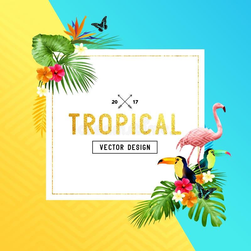 Тропический дизайн границы иллюстрация штока