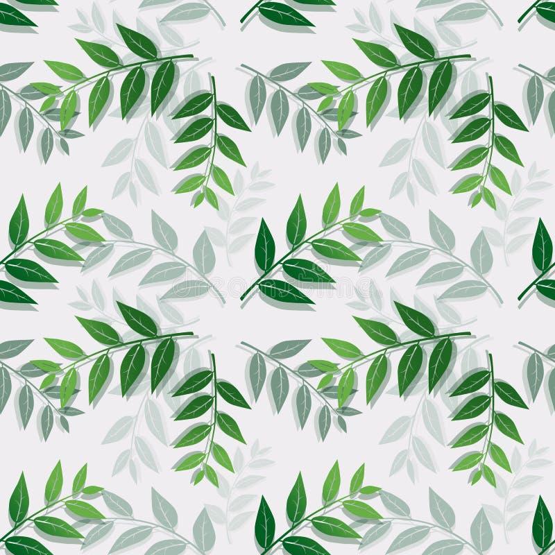 Тропический изолят листьев на белой предпосылке, безшовная картина повторения для ткани, ткань, крышка, печать или упаковочная бу иллюстрация вектора