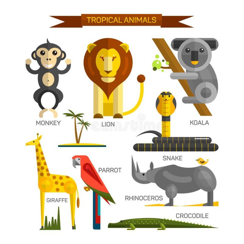 Тропический комплект вектора животных в плоском дизайне стиля Птицы, млекопитающие и хищники джунглей Собрание значков шаржа зооп иллюстрация штока