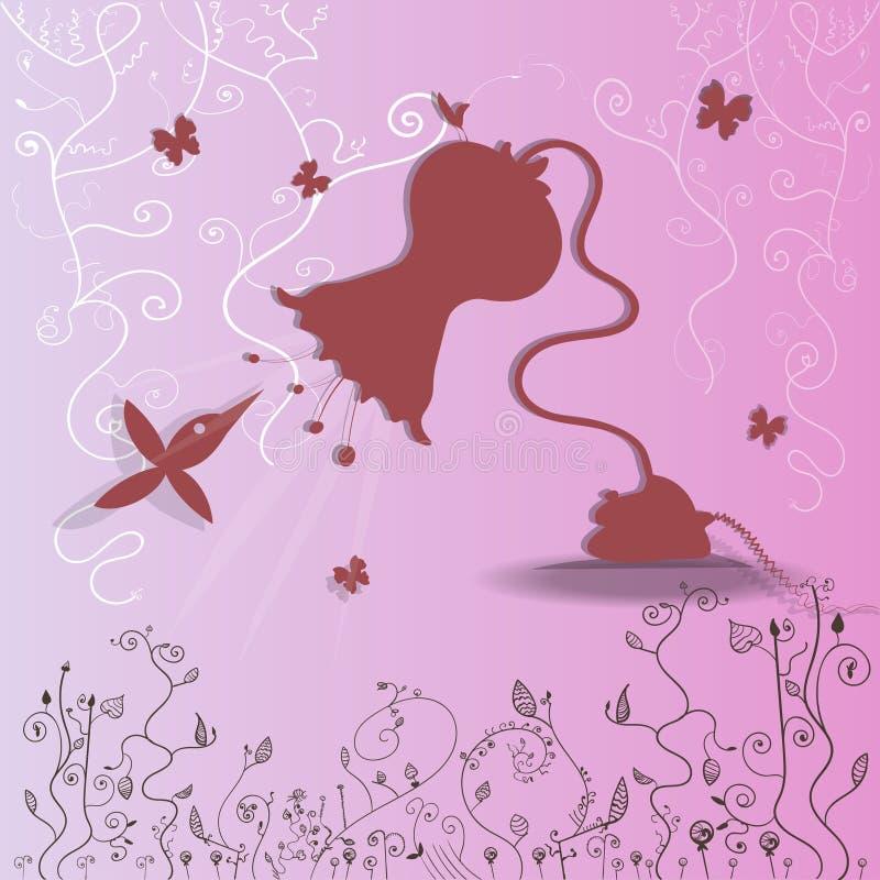 Тропический колибри летая с цветк-лампой бесплатная иллюстрация