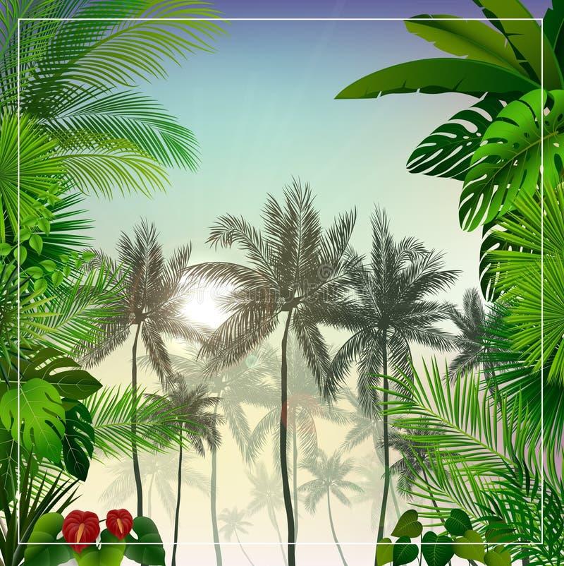 Тропический ландшафт утра с пальмами и листьями иллюстрация штока