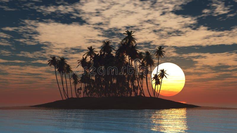 Тропический остров на заходе солнца стоковые изображения rf