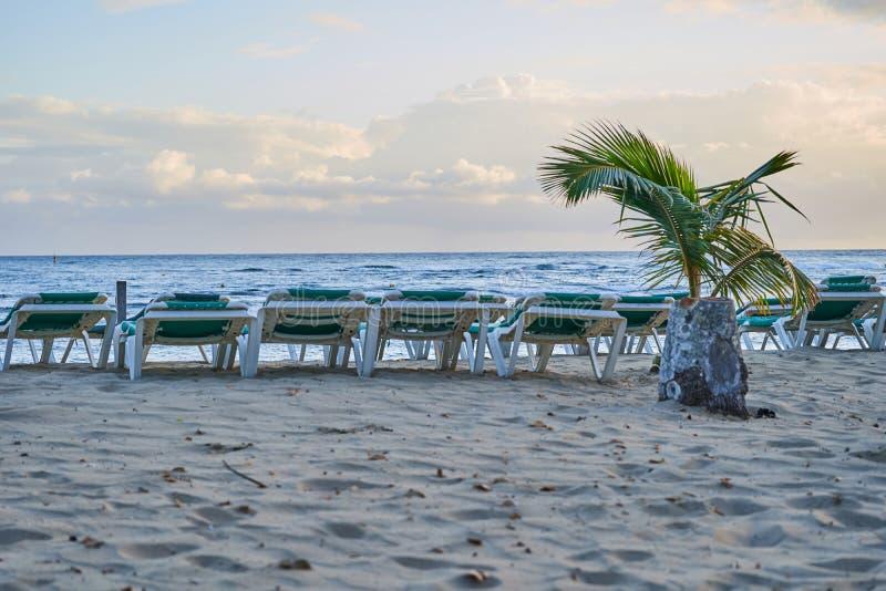 Тропический песчаный пляж на восходе солнца Инфраструктура пляжа стоковые фотографии rf