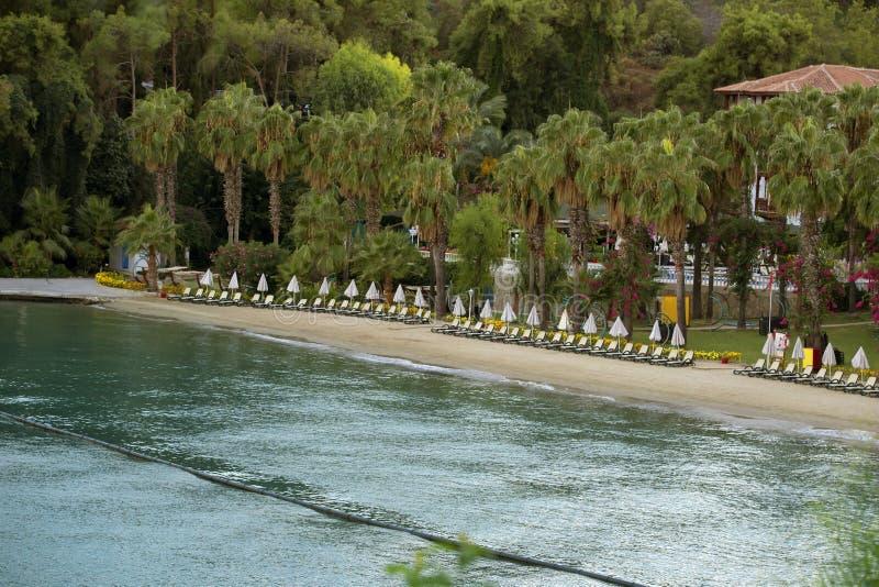 Тропический песчаный пляж с чистой водой бирюзы, зонтиками Взгляд сверху Воздушный снимая пустой пляж, Fethiye, Турция стоковое изображение rf