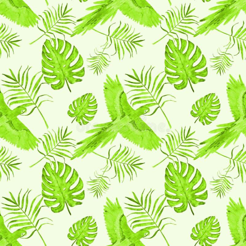 Тропический попугай картины покидает зеленый цвет monstera и ладони бесплатная иллюстрация