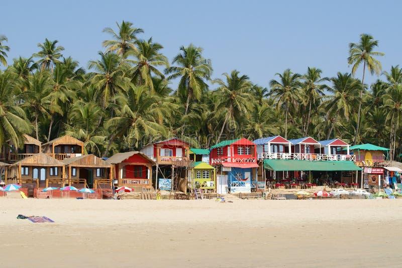 Тропический пляж в Palolem, Goa, Индии стоковая фотография