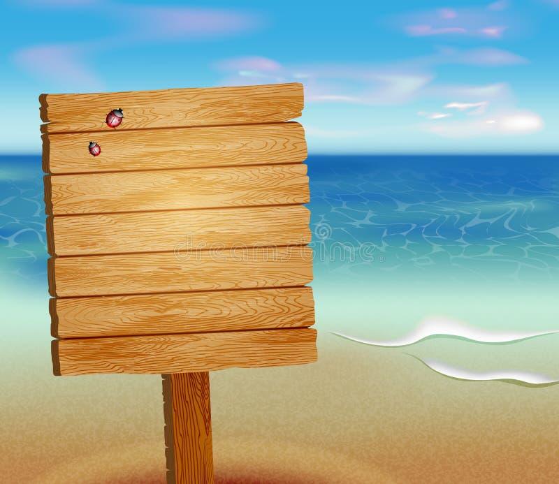 Тропический пляж с деревянным знаком иллюстрация штока