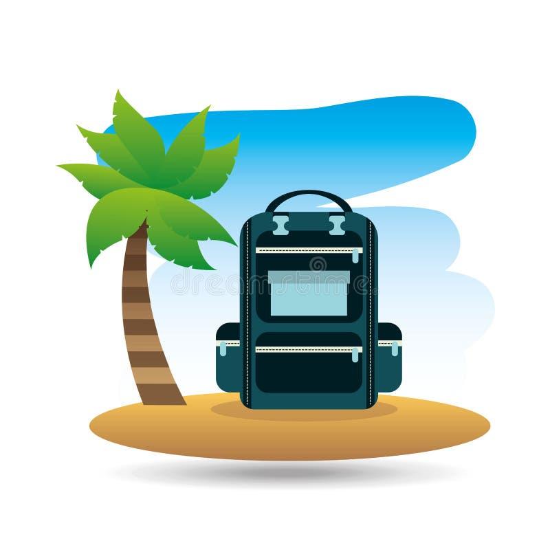 Тропический рюкзак пляжа каникул иллюстрация штока