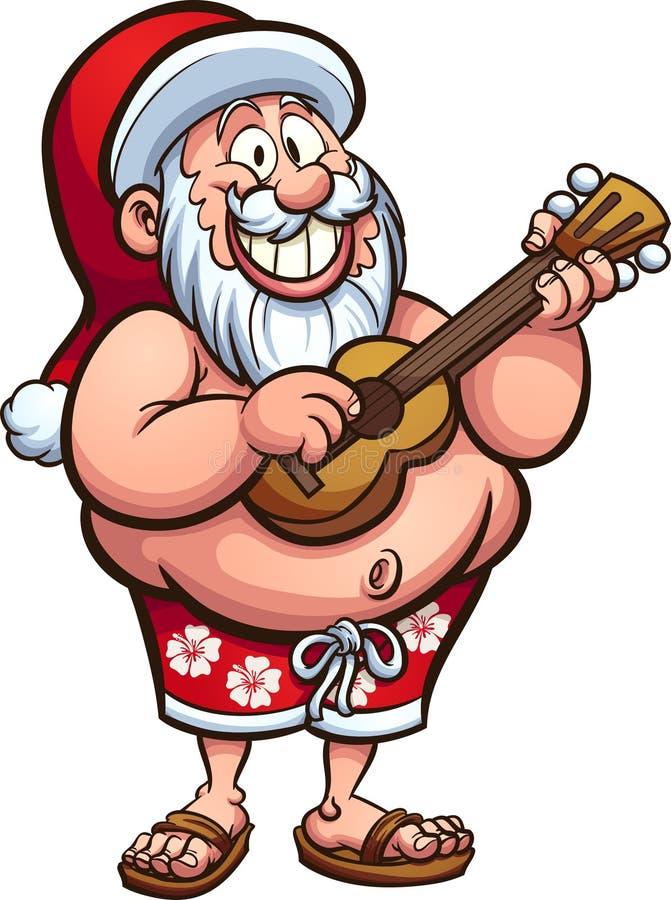 Тропический Санта Клаус играя гавайскую гитару бесплатная иллюстрация