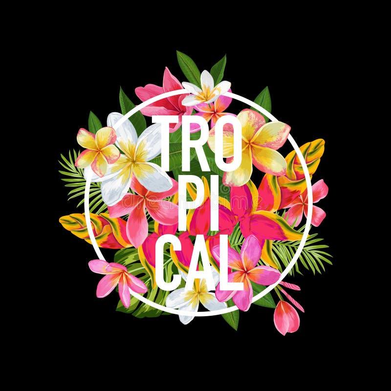 Тропический флористический дизайн для футболки, печати ткани Экзотические цветки плакат, предпосылка, знамя Тропик каникул пляжа иллюстрация штока