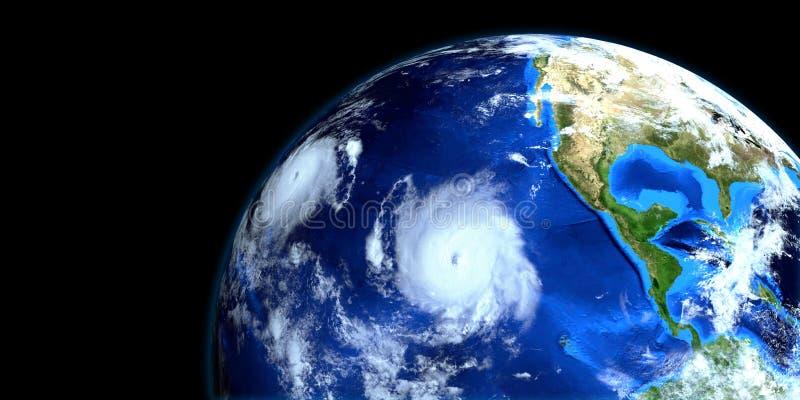 Тропический шторм Erick весьма детальная и реалистическая высокая иллюстрация разрешения 3d Съемка от космоса Элементы этого изоб иллюстрация штока