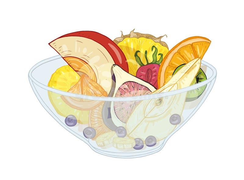 Тропический экзотический фруктовый салат в шаре изолированном на белой предпосылке Вкусная еда сделанная из прерванных апельсинов иллюстрация штока