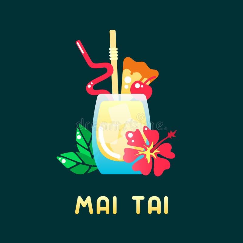 Тропический mai tai коктейля с украшениями и именем иллюстрация штока