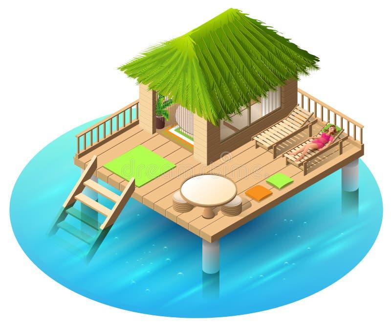 Тропическое бунгало на воде и женщине лежит в deckchair иллюстрация вектора