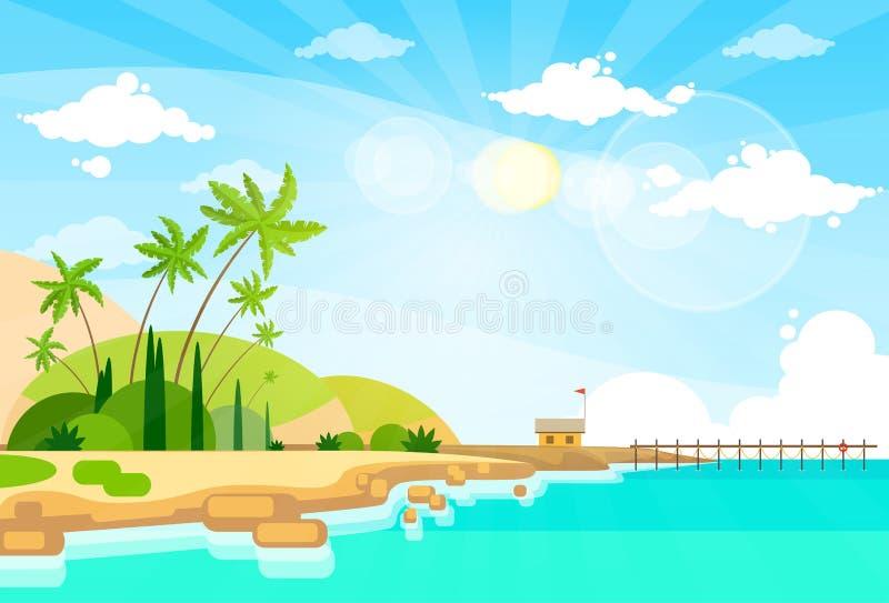 Тропическое лето океана пальмы острова пляжа иллюстрация вектора