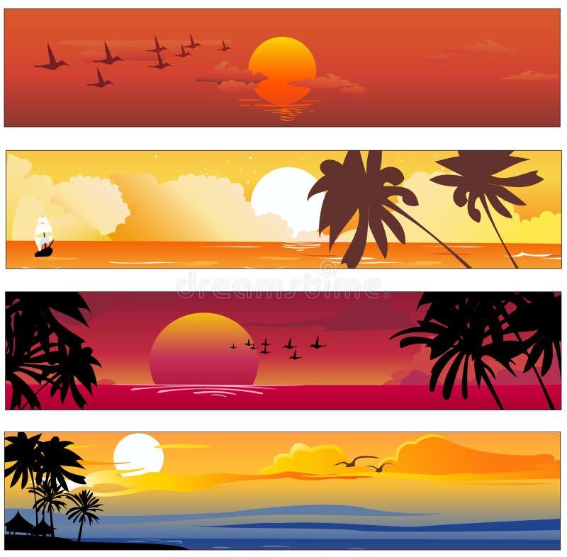 Тропическое знамя лета иллюстрация штока