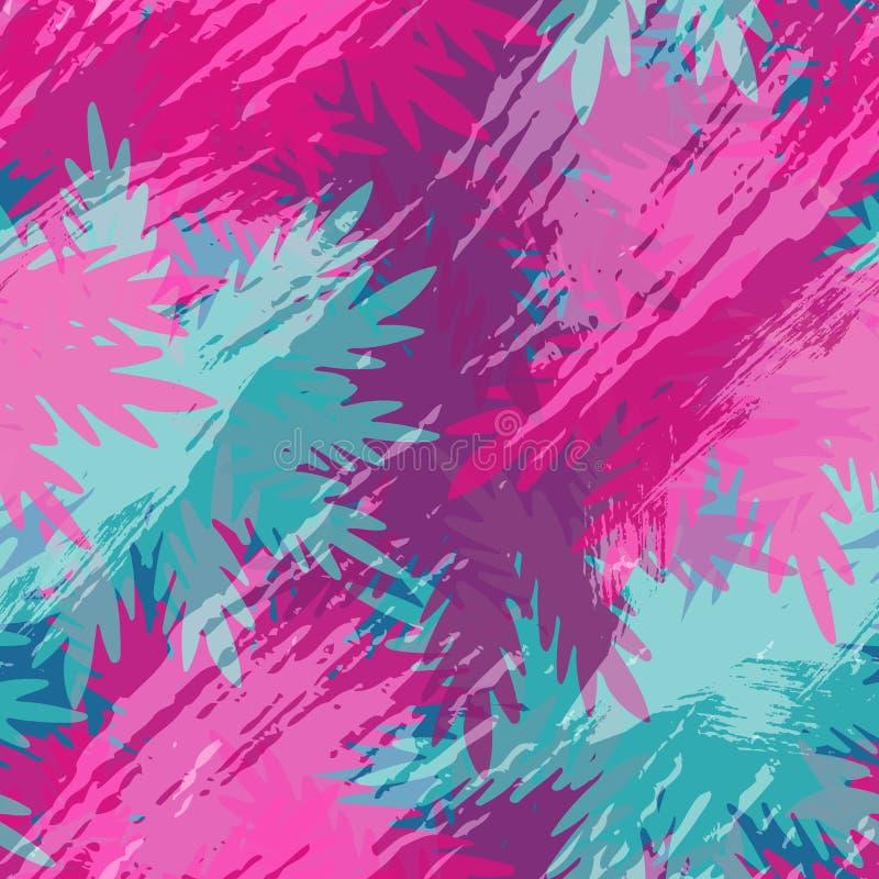Тропическое искусство цветочного узора пальмы лист лета иллюстрация вектора