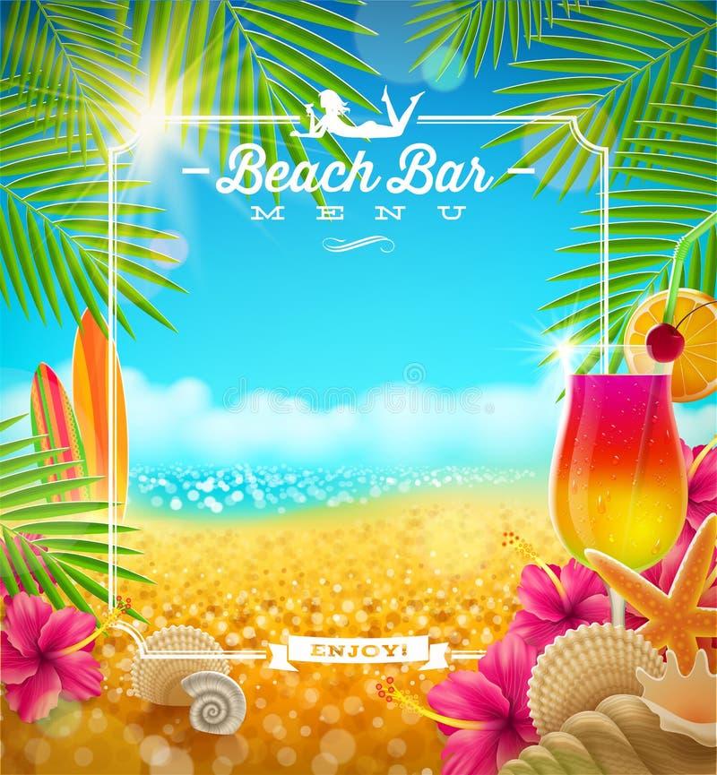 Тропическое меню бара пляжа иллюстрация штока