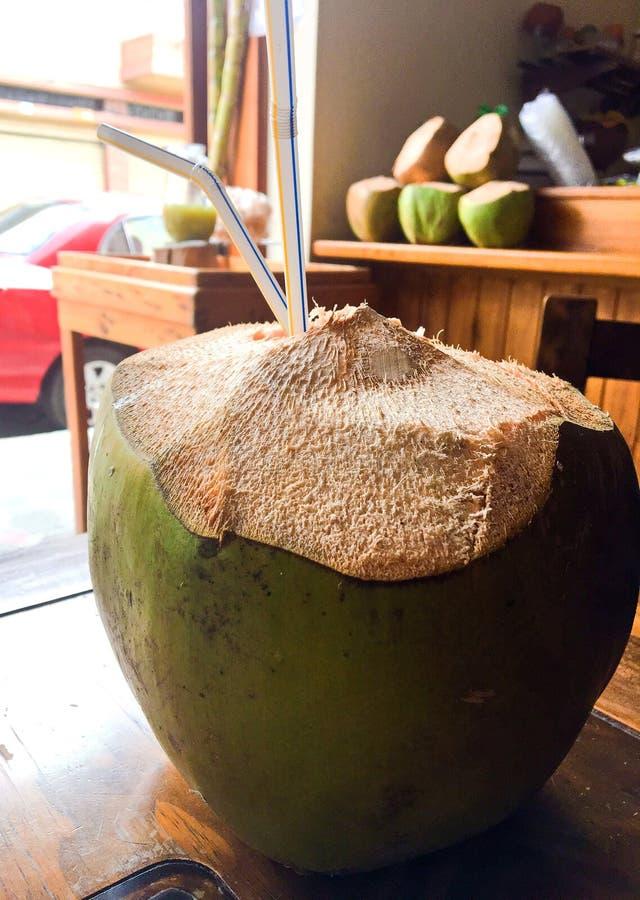 Тропическое питье кокоса с 2 соломами стоковые фотографии rf