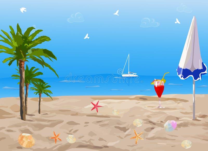 тропическое пляжа солнечное бесплатная иллюстрация