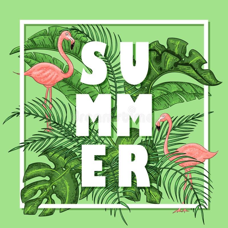 Тропическое расположение лета с фламинго, листьями ладони и экзотическими цветками иллюстрация вектора