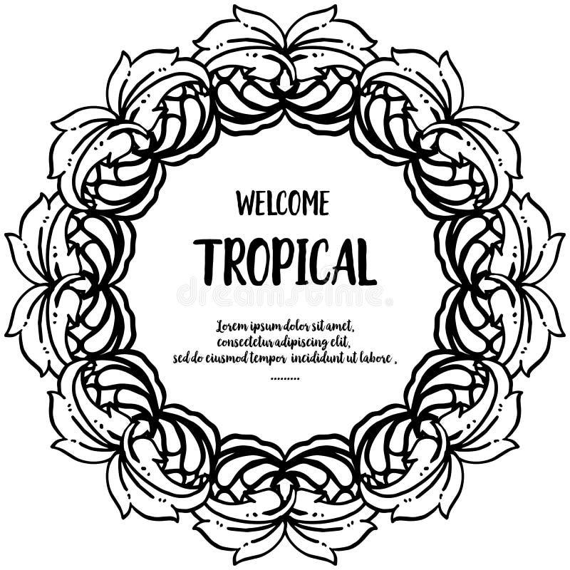 Тропическое текста радушное, график современный с рамкой цветка дизайна r иллюстрация штока