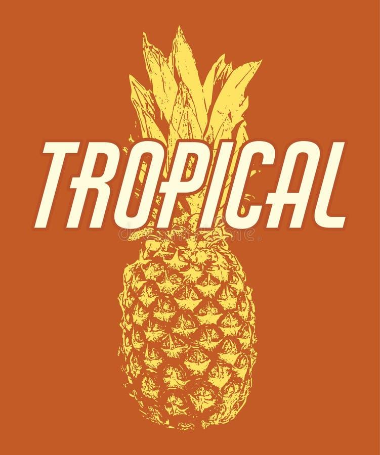 тропическо Иллюстрация вектора нарисованная рукой ананаса иллюстрация вектора