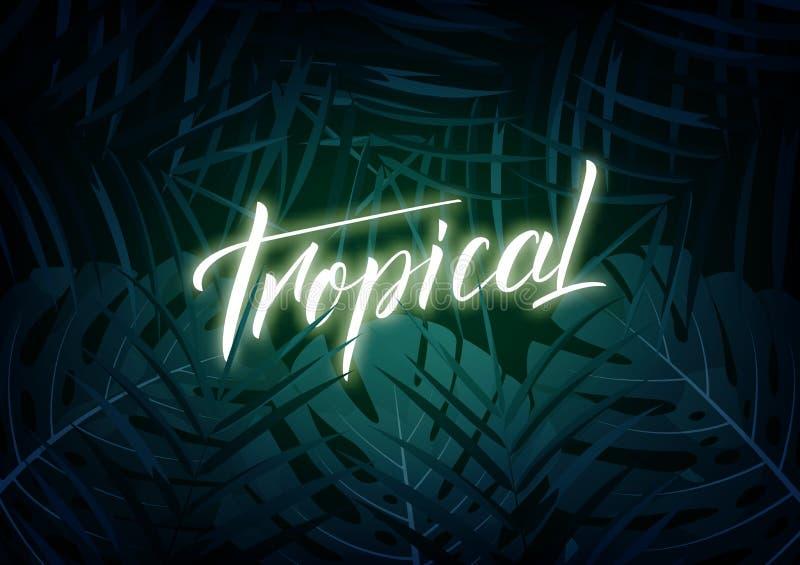 тропическо План современного дизайна с glowinglettering и троповые листьями джунглей Предпосылка лета экзотическая бесплатная иллюстрация