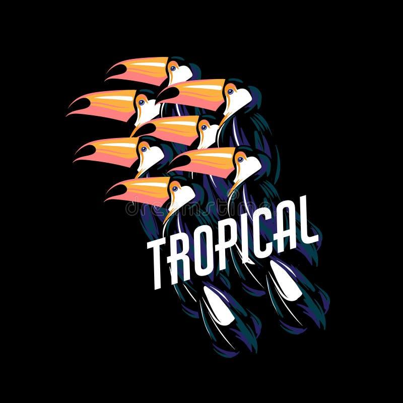 тропическо Vector плакат с иллюстрацией нарисованной рукой листьев toucan и ладони бесплатная иллюстрация