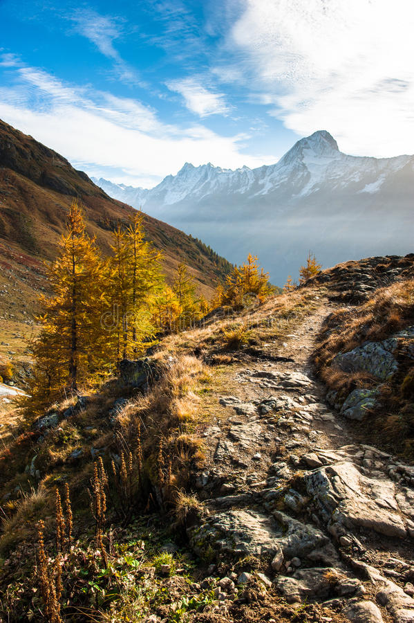 тропка bietschorn hiking стоковое фото rf