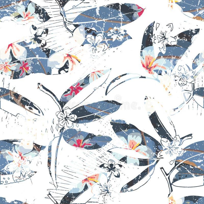 Троповая флористическая экзотическая безшовная картина вектора бесплатная иллюстрация