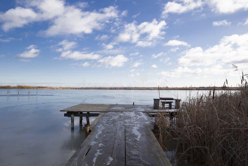 Тростники и старая деревянная пристань реки около пруда, который покрыт стоковое фото