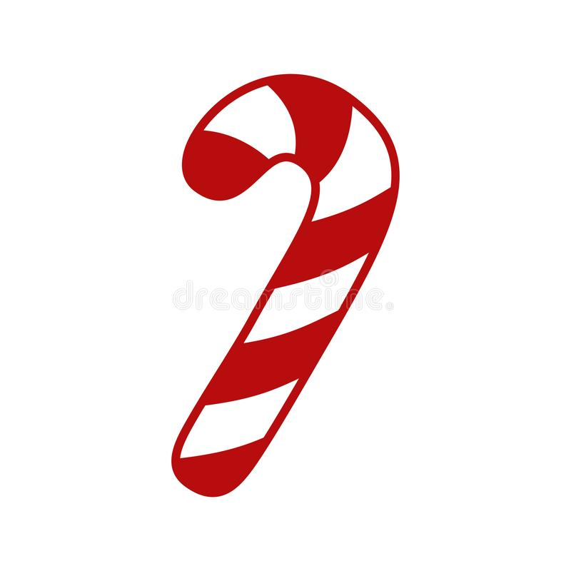 Тросточка конфеты - значок вектора Тросточка конфеты рождества с красными и белыми нашивками Тросточка конфеты пипермента изолиро иллюстрация вектора