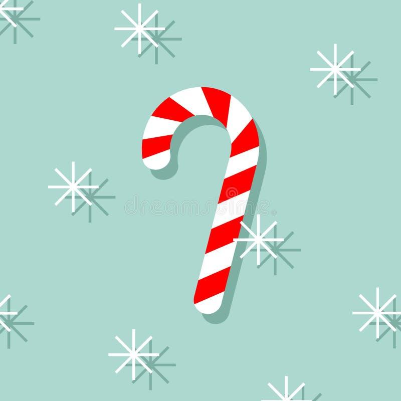 Тросточка рождества красная и белая streped сладкая со снежинками Изображение вектора тросточки конфеты изолированное на голубой  иллюстрация вектора